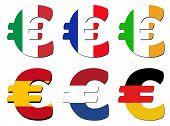 Italian French Irish Spanish Dutch German Flag euro symbol vector illustration