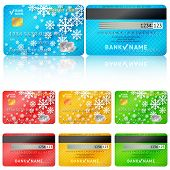 Set of realistic credit card two sides. Vector illustration