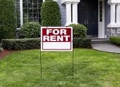 stock photo of northeast  - Closeup view of Modern Suburban Home with for Rent Sign in front Yard - JPG