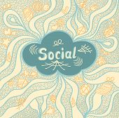 Abstract social cloud in doodle style on beige background