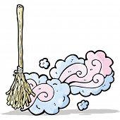 cartoon magic broom sweeping