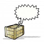 cartoon empty wooden crate