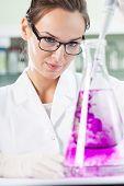 Scientist Putting Violet Liquid Into The Flask
