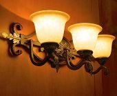 stock photo of lamp shade  - The close view of a lobby lamp shade  - JPG