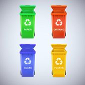 Recycle bins with recycle sign.
