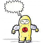cartoon man in radiation suit