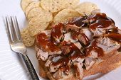 picture of baps  - Pulled pork sandwich with barbecue sauce and chips - JPG