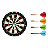 Darts Set Isolated On White Vector