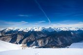 Beautiful winter landscape of Caucasus mountains