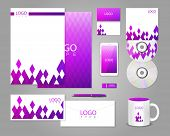 Corporate identity template with purple rhombuses