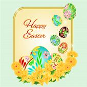 Easter Frame Easter Eggs And Daffodils Vector