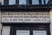 Sign at the oldest house in Beaumaris, Anglesey- Wales.