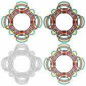 Four Circular Forms Same As A Wicker Pattern