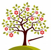 Flowering Tree And Hoe