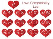 Love Compatibility - Leo. Astrological Signs Of The Zodiac. Vector Set Of Flat Thin Line Icons