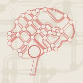 retro circuit board form of brain, technology illustration