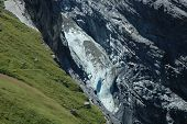Glacier And Meadow In Valley Nearby Grindelwald In Alps.
