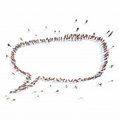 People in the shape of a chat bubble.