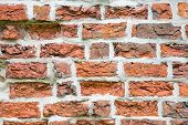 Brick wall from medieval 13th century brick