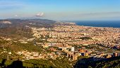 stock photo of gaudi barcelona  - View of Barcelona from the top of Sagrat Cor temple - JPG