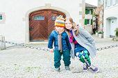 Outdoor portrait of adorable kids