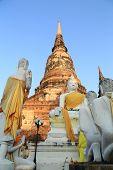 Buddha Status An Pagoda At Wat Yai Chaimongkol, Thailand