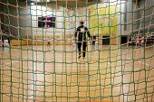 Futsal Goalkeeper Looking To The Field