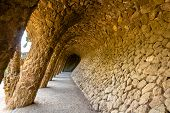 picture of gaudi barcelona  - A gallery in the Park Guell  - JPG