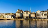 stock photo of zurich  - Buildings at the embankment of Zurich  - JPG