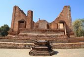 Ubosot (ordination Hall) At Wat Mahaeyong, The Ruin Of A Buddhist Temple In The Ayutthaya Historical