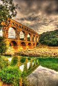 picture of aqueduct  - Pont du Gard ancient Roman aqueduct UNESCO site in France - JPG