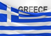 Greece flag and country name
