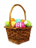 Easter basket of colorful eggs