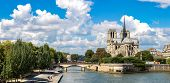 pic of notre dame  - Seine and Notre Dame de Paris is the one of the most famous symbols of Paris - JPG