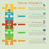 Infographics report templates in a line puzzle elements. Vector