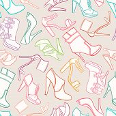 Seamless Background With Women's Shoes