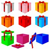 Set of colorful box christmas gifts. Vector illustration.