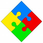 Four colored puzzle together. Vector illustration.
