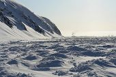 Chukotka. Frozen Shore Of The Arctic Ocean.