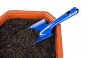 Flower pot with soil and shovel