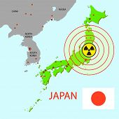 Japan map with danger on an atomic power station