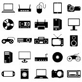 Collection flat icons. Eectronic devices symbols. Vector illustr