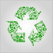 Recycling concept illustration - various media, technology, environment and industrial icons