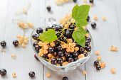 Fruits White Black Currants Saucer Wooden Table Summer Harvest