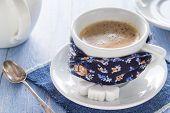 Coffee Cup Black Wooden Board Brown White Jug Milk