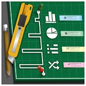 Business Infographic Paper Cut Style With Pencil And Cutter On Self Healing Cutting Mat