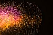 Multi-colored Fireworks In The Dark Night Sky