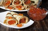 Постер, плакат: Red Caviar Salmon Fish With Pancakes