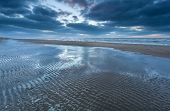 picture of tide  - low tide on North sea beach Holland - JPG