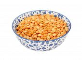 Yellow Split Peas In A Blue And White China Bowl